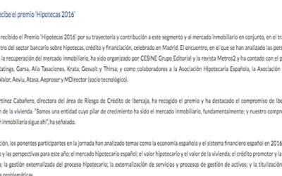 Ibercaja recibe el premio 'Hipotecas 2016'