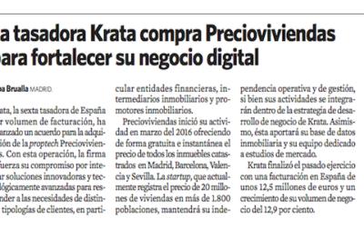 La tasadora Krata compra Precioviviendas para fortalecer su negocio digital (artículo en El Economista)