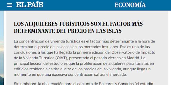 Los alquileres turísticos son el factor más determinante del precio en las islas (El País)