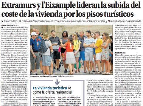 Extramurs y l'Eixample lideran la subida del coste de la vivienda por los pisos turísticos (Levante – EMV)