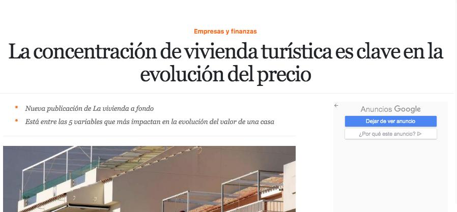 Relación entre la vivienda turística y la evolución del precio de la vivienda (Inmodiario)
